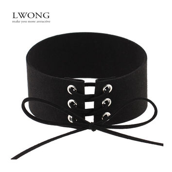 Super Fashion Tie Up Lace Up Choker Sexy Statement Necklace Jewelry for Women Multicolor Faux Suede Leather Chokers New Hot