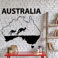 Wall Vinyl Decal Australia Continent Kenguru Australian Animals Home Decor Unique Gift z4318