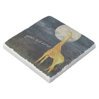 Giraffe and Moon | Custom Stone Drink Coaster