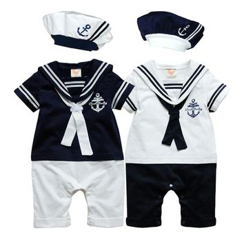 New Summer navy style short-sleeve Newborn baby romper kids boys girls romper+hat set baby boy clothes sailor suit tuxedo romper