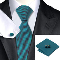 Silk Jacquard Tie Green Stripe Necktie Set For Men
