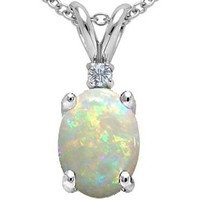 1.02 cttw Tommaso Design(tm) Genuine AAA 8x6 Australian Opal and Diamond Pendant in 14 kt White Gold