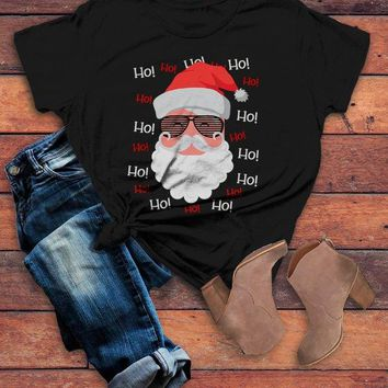 Women's Hipster Santa Shirt Hipster Christmas TShirt Ho Ho Ho Hipster Mustache Beard Santa Christmas Outfit