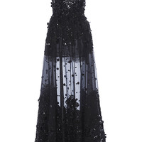 Embroidered Tulle A-Line Gown | Moda Operandi