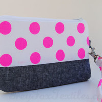 Neon Pink Polka Dot wristlet accented with Blue linen / clutch / zipper pouch / coin purse