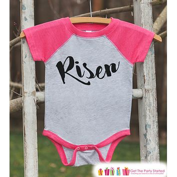 Girls Easter Outfit - Risen Shirt or Onepiece - Christ Religious Easter Shirts - Baby, Toddler, Youth - Kids Religious Easter Shirt - Pink