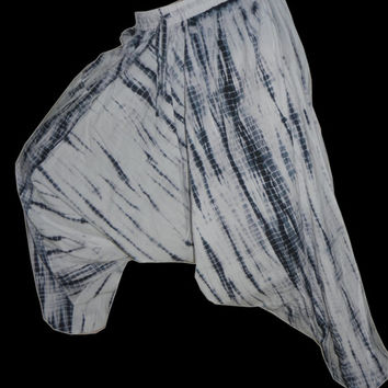zebra tie & dye harem pant ,drop crotch pant, Harem Pants, Hippie Pants , Boho Gypsy Pants , Yoga Pants ,holiday pants beach wear pant