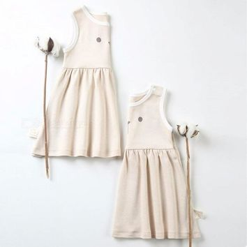 Casual Summer Cotton Infant Girl Dress, Sleeveless Toddler Baby Girl Clothes For 0-18 Months Baby Light Coffee/3M