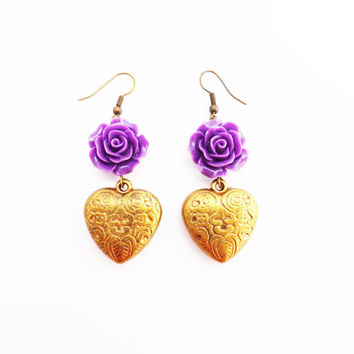 Western Inspired Purple  Rose and  Etched Antique  brass  Heart   Earrings
