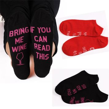 Women Funny Socks If You Can Read This Bring Me Wine Beer Coffee Cotton Socks Great Gift For Beer Wine Lovers Casual Ankle Socks