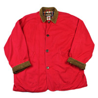 Vintage Red Barn Coat with Corduroy Trim Mens Size Large