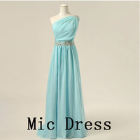 Oneshoulder sleeveless chiffon wieh sashes appliques by MicDress