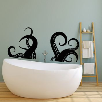 Vinyl Wall Decal Tentacles Of Octopus Sea Animal Nautical Stickers (2572ig)