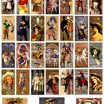 1x2 inch vintage Cowgirls on wood pin up girls clip art digital download COLLAGE SHEET image graphics