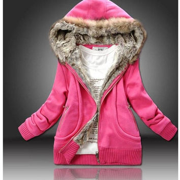 Fashion Women  Hoodies  Sweater fur & leather Autumn Winter Coat Down Jacket Outerwear = 1919946180