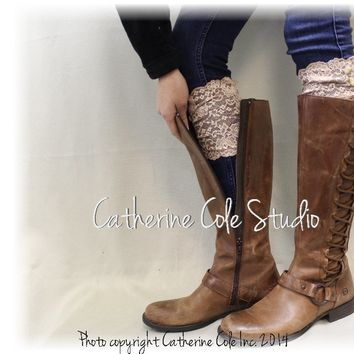 LACE stretch boot cuffs - beige