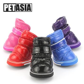 2017 Pet Dog Shoes Winter Super Warm 4pcs/set Dog's Boots Cotton Anti Slip 2XL Shoes for Small Pet Product ChiHuaHua Waterproof