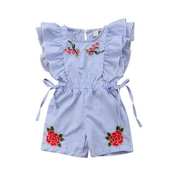 Pretty Toddler Kid Baby Girl Flower Stripe Ruffle Romper Jumpsuit Outfit Clothes