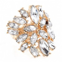 Wren's Clear Crystal Stone Adjustable Cocktail Ring