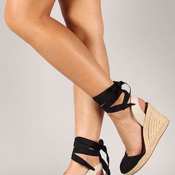 Bamboo Tessa-03 Round Toe Espadrille Ankle Wrap Wedge