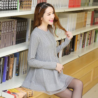 Autumn and winter medium-long maternity sweaters dresses plus size organza patchwork pullover clothes for pregnant women