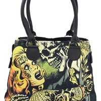 Liquorbrand Horror B Movie cartoon Expandable Zipper Shoulder Tote Bag