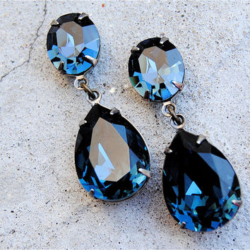 Vintage Navy Blue Earrings Swarovski Crystal Tear Drop Post Dangle Or Clip On Rhinestone Pear