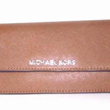 Michael Kors Flat Jet Set Travel Luggage & Cherry Leather Wallet NWT $148