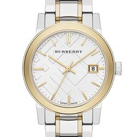 Women's Burberry Medium Check Stamped Bracelet Watch, 34mm - Gold/ Silver