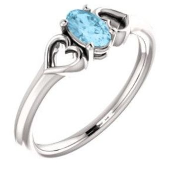 14K White Aquamarine Youth Heart Ring