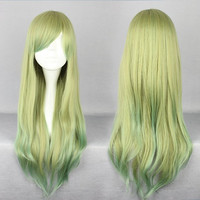 Popular Style 2014 Japanese lolita long Hair Cuts Anime Cosplay Multi Color Wig,Colorful Candy Colored synthetic Hair Extension Hair piece 1pcs WIG-500A