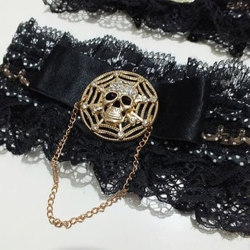 Wedding or Costume Steampunk Black Garter . For Bride, Bachelorette Bridesmaid  skull garter