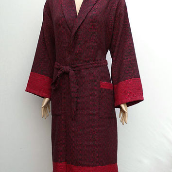 Women's red and black colour exclusive patterned Turkish soft cotton dressing gown, bathrobe with no hood, morning gown.