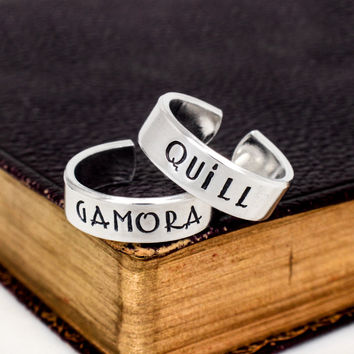 Quill and Gamora - Guardians of the Galaxy - Couples Jewelry -  Adjustable Aluminum Cuff Ring Set