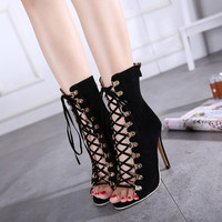 Sexy High Heels Ankle Boots Open Toe Shoes Booties Woman Spring Autumn