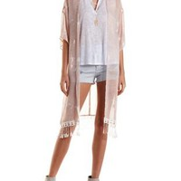 Ivory Combo Paisley Fringe Duster Kimono by Charlotte Russe