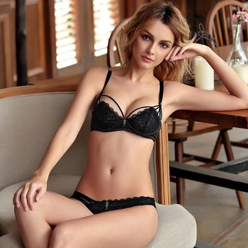 Drinks On Sale Coffee Cute Hot Deal Bra Set Transparent Plus Size Underwear Sexy Hollow Out Cup [296077885481]