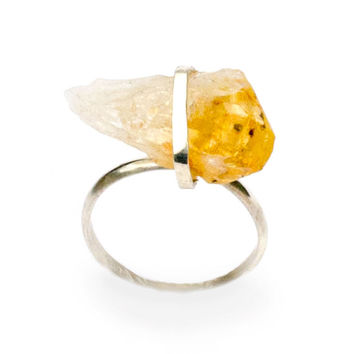 Raw Citrine Ring on small Sterling Silver Band