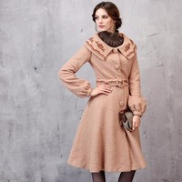 PLT Pink Embroidered A-Line Coat
