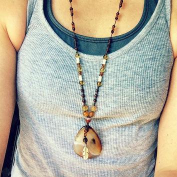 Tribal wind, Native american inspired Boho, Hippie Pendant Necklace