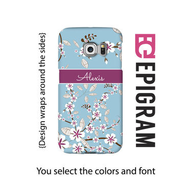 Personalized Samsung Galaxy S6 Edge case, blue floral Samsung Galaxy S6 case, Galaxy S5 case, 3D wrap Galaxy case, Galaxy tough case