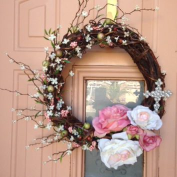 Grapevine wreath, everyday wreath, wreaths, flower wreath, cross wreath, pearls, front door wreath, rose wreath, pink wreath, pink and white