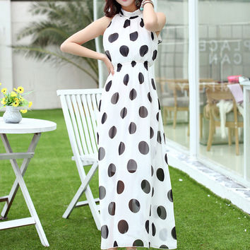 White Polka Dot Halter Chiffon Empire Maxi Dress