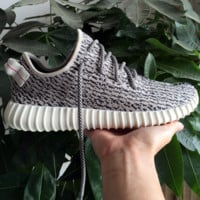 """Adidas"" Women Yeezy Boost Running Sneakers Sports Shoes Grey(black dots)"