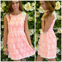 Painterly Garden Neon Pink Lace Dress