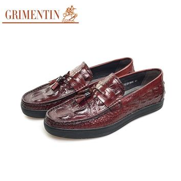 GRIMENTIN brand crocodile style mens loafers genuine leather fashion tassel casual men shoes flats for business office