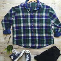 Grunge Flannel- Blue & Green