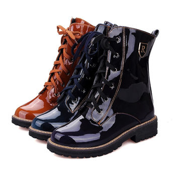 Spring/Autumn women boots Square heel Motorcycle boots Mid-Calf Casual Martin boots Patent Leather LaceUp Knight boots size34-43
