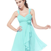 Tiffany Blue Braces High-waist Chiffon Dress