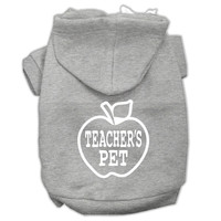 Teachers Pet Screen Print Pet Hoodies Grey Size L (14)